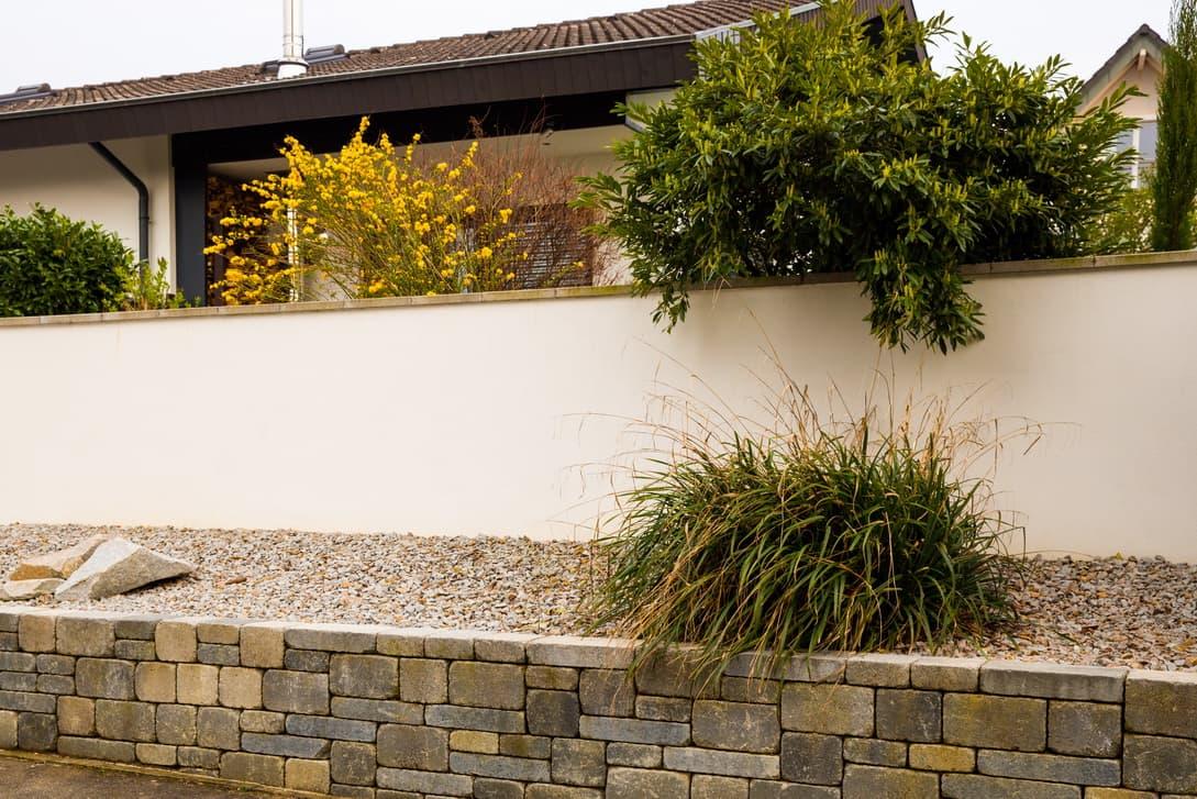 Sichtschutz aus Stein Mauerwerk verputzt, eingebettet in Bepflanzung vor und hinter dem Mauerwerk