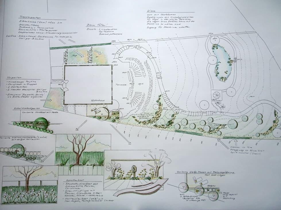 Planung einer gesamten Gartenanlage mit Detailplanungen
